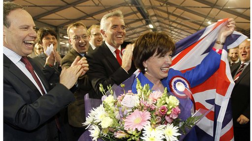 Diane Dodds, DUP, celebrates with her party