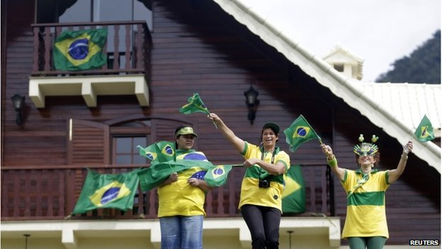 Brazilian fans cheering in Teresopolis