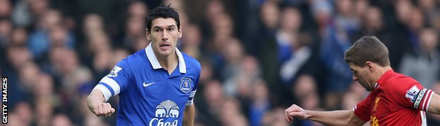 Everton midfielder Gareth Barry