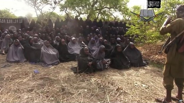 An image taken from a video made by Boko Haram showing the girls abducted from Chibok - 12 May 2014