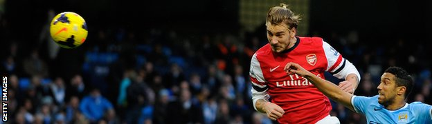 Arsenal striker Nicklas Bendtner