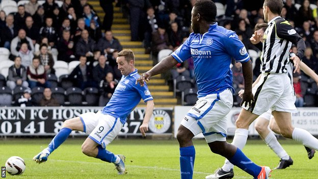 St Johnstone's Steven MacLean nets against St Mirren