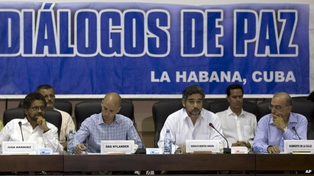 Farc and government negotiators at a news conference in Havana on 16 May, 2014