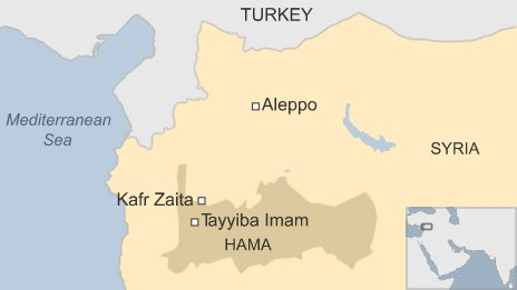 Map showing location of Kafr Zaita in Syria