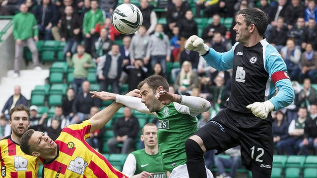 Partick Thistle goalkeeper Paul Gallacher in action against Hibernian