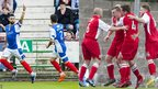 Cowdenbeath and Stirling Albion players celebrating
