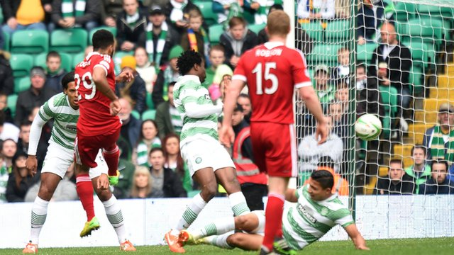 Shaleum Logan scores for Aberdeen against Celtic