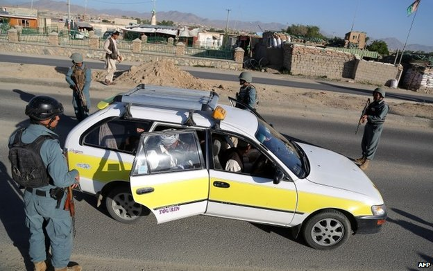 Police at a checkpoint in Ghazni province
