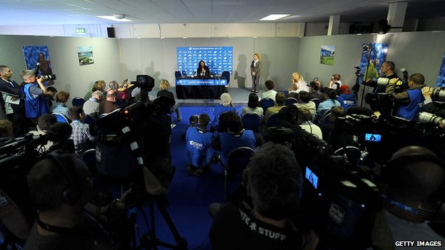 Serena Williams media conference in Eastbourne in 2011