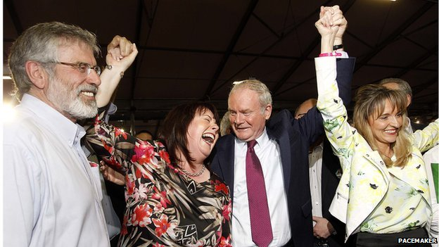 Gerry Adams, Michelle Gildernew, Martin McGuinness and Martina Anderson