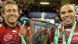 Jonny Wilkinson and Bran Habana celebrate Toulon's 2014 Heineken Cup win