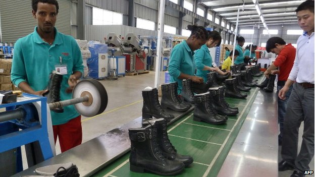 People working on the assembly line at Huajian shoe factory in Dukem, Ethiopia - 2012
