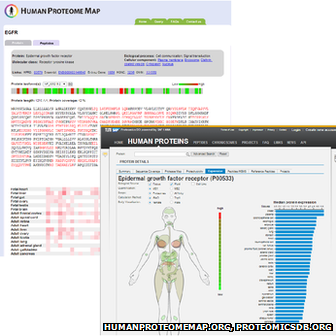proteome database screen grabs