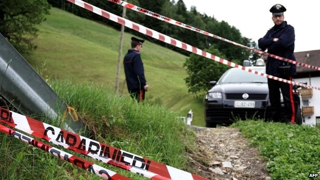 "Italian Police close a street near Germany""s national football team""s training camp in San Martino in Passiria on May 27"