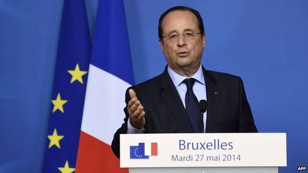 French President Francois Hollande gives a press conference after a summit of EU leaders in Brussels -27 May 2014