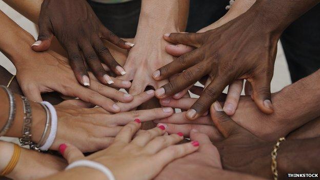 Diverse human hands