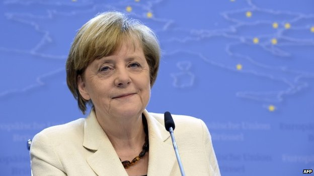 German Chancellor Angela Merkel talks to the media on 27 May 2014.