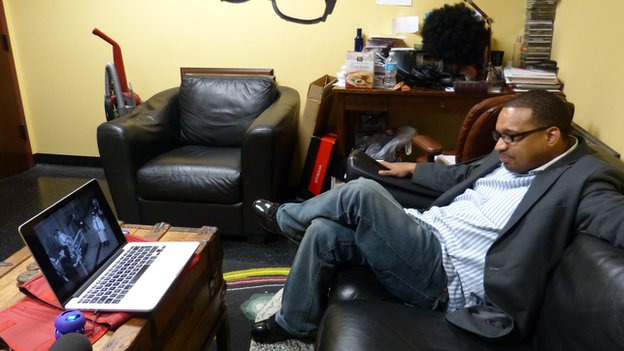 "Rashad Richey - ""Mouth of the South"" - watching the speech at WAOK Radio Station in Atlanta"