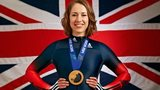 Lizzy Yarnold with her gold medel in front of the Union Jack
