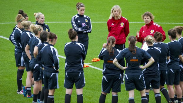 Scotland head coach Anna Signeul with her players