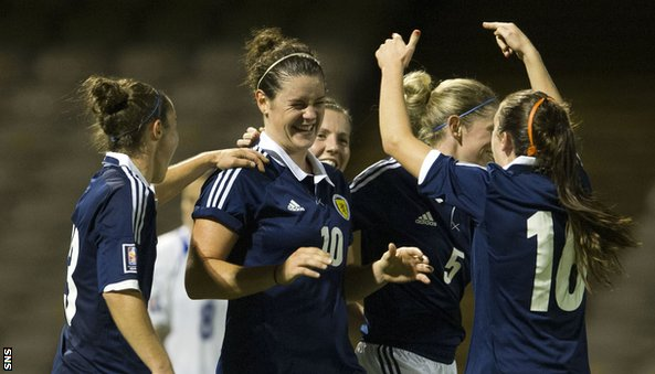Jennifer Beattie (centre) celebrates with her Scotland team-mates