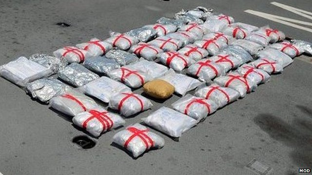 Packs of heroin confiscated from a vessel in the Gulf