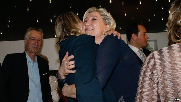 Marine Le Pen celebrating, 25 May 14