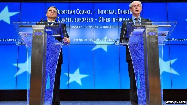 European Commission President Jose Manuel Barroso, left, and European Council President Herman Van Rompuy address the media