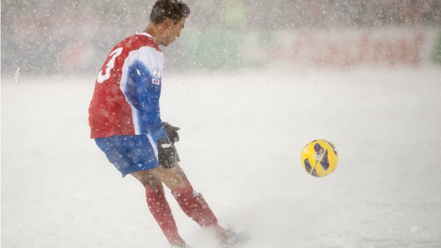 USA v Costa Rica in the snow