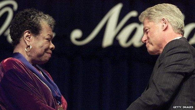 Maya Angelou and Bill Clinton