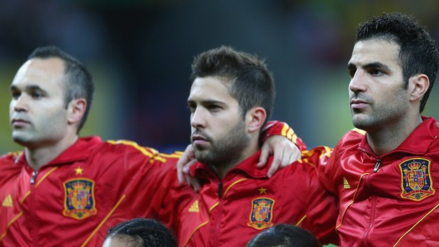 Andres Iniesta, Jordi Alba and Cesc Fabregas line up for Spain