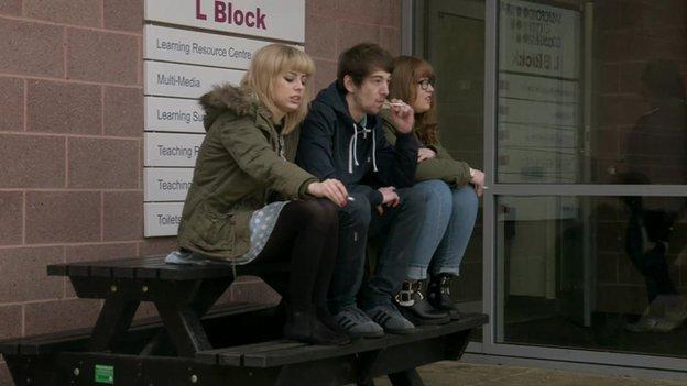 Students smoking