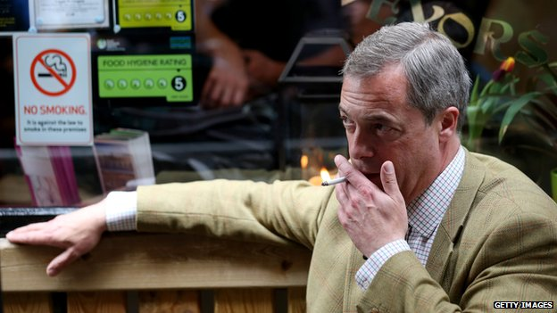 Nigel Farage smoking
