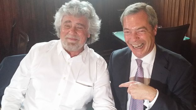 Beppe Grillo (left) meets Nigel Farage