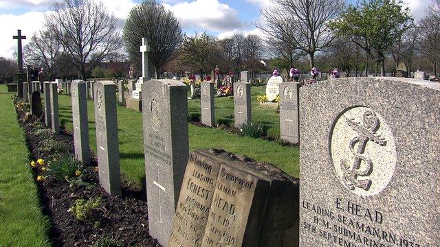 WW1 Commonwealth war graves at Preston cemetery in Tynemouth