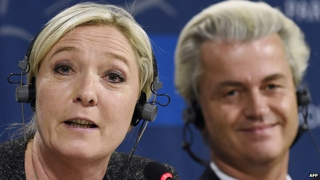 Marine Le Pen and Geert Wilders give press conference at EU parliament in Brussels. 28 May 2014