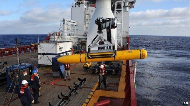File image of the Bluefin-21 aboard Australian vessel Ocean Shield