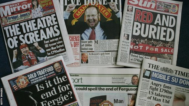 How the British press reacted to Glazer's takeover of Manchester United in 2005