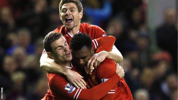 Steven Gerrard, Daniel Sturridge and Jordan Henderson celebrate