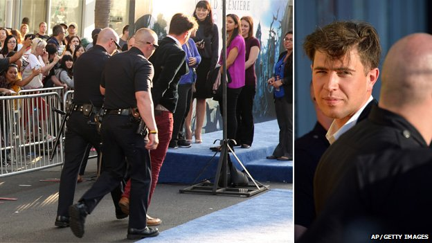 Vitalii Sediuk led away in handcuffs at Maleficent premiere