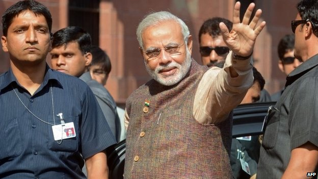 PM Narendra Modi arrives at his office in Delhi on May 27, 2014