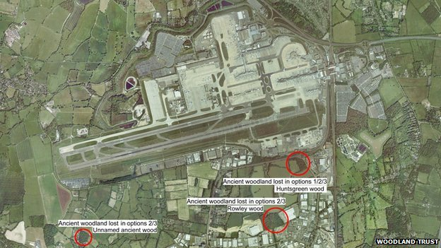 Aerial map of Gatwick Airport