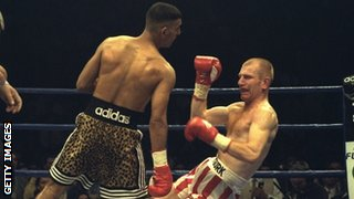 Prince Naseem Hamed knocks down Billy Hardy in 1997