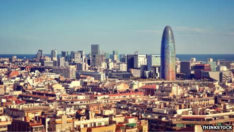 Aerial view of Barcelona financial district