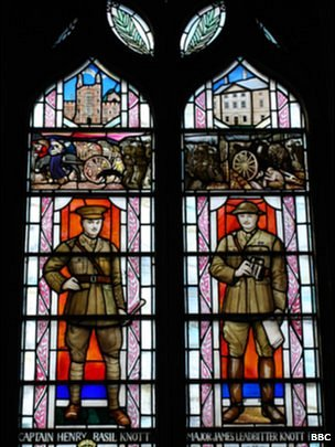 Stained glass window dedicated to Basil & James Knott