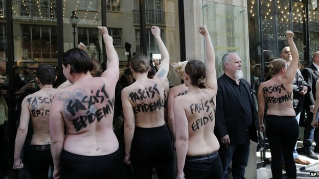 Femen activists demonstrate against the National Front in Paris, 22 April