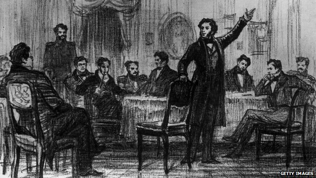 Drawing of Alexander Pushkin at a party