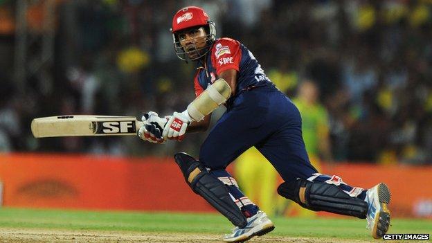 Delhi Daredevils batsman Mahela Jayawardene at an IPL match in Chennai on May 25, 2012