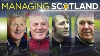 Managing Scotland. From left: Gordon Strachan, Walter Smith, Tommy Docherty and Craig Brown