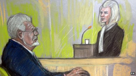 Court sketch of Rolf Harris being cross-examined